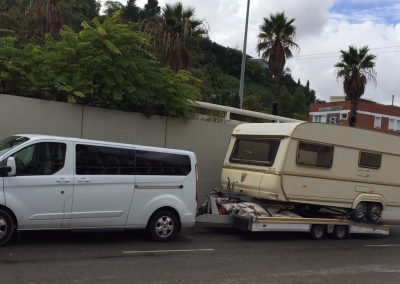 Transport de vehicles, transporte de caravanas en la costa brava